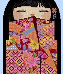 Colorful ERI -A Japanese name meaning blessed prize. Stitch Count: 121 width x 280 height 32 DMC Thread colors Fabric colour: Light Blue Design size: 8w x 20h inches on 14 count Pattern have 9 pages, no overlaps. Chart have red & black symbols. Cross stitches and outlines for