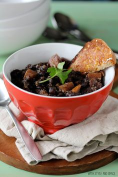 Black Bean, Sweet Potato & Quinoa Chili...it's gluten free, dairy free, and vegetarian.