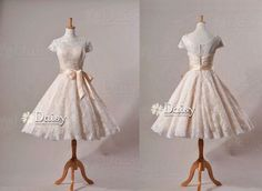 Vintage Outdoor Wedding Dresses | ... Garden Wedding Dresses, Cap Sleeves, Length Lace, Tea Length, Vintage