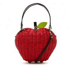 This fab apple shaped bag is a great size for parties and special occasions. The bag fastens with a popper and has a choice of across body strap or grab handles. Basket weave with cotton lining. Fully lined with a red and white polka dot printed cotton.    Features:   - Press stud fastening  - Detachable shoulder/across body strap  - Inner slip pocket    Lining: Polka Dot Cotton  Materials: PU    H18CM X L24CM X D14CM  Strap drop 60CM