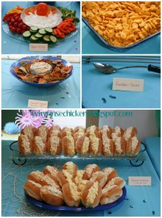 Under the Sea/Mermaid 3rd Birthday Party Food. Octo-dip, goldfish, seaweed dip and chips, seashells and cheese, and submarine sandwiches.