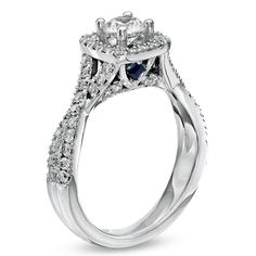 Vera Wang LOVE Collection 1-1/3 CT. T.W. Cushion-Cut Diamond Frame Twist Engagement Ring in 14K White Gold