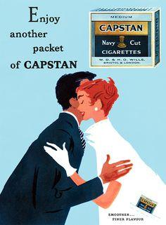 «Capstan cigarettes, 1956». El cigarrillo es perjudicial para la salud pero la buena publicidad no.