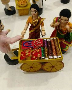 Bangle seller, Indian hand made DOlls. Indian Wedding Gifts, Indian Wedding Decorations, Handmade Decorations, Festival Decorations, Diwali Decorations, Stage Decorations, Wedding Doll, Wedding Stage, Trousseau Packing