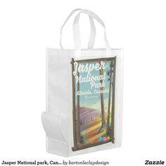 Jasper National park, Canada travel poster Reusable Grocery Bag