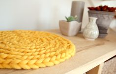 Round crochet seat cushion (or make it bigger for a rug!)