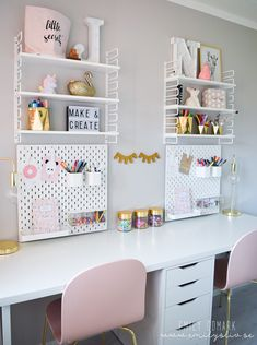 38 Perfect Bedroom Desk Ideas - If need your own personal office space or study area, than adding a desk to your bedroom can give you the desired privacy you are looking for. Desk For Girls Room, Girl Desk, Ikea Girls Room, Big Girl Rooms, Home Office Design, Home Office Decor, Ikea Office, Office Spaces, Work Spaces