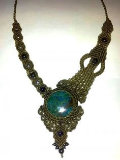 Abstract Turquoise Macrame Necklace