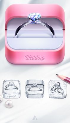 Wedding app icon by Ampeross , via Behance. I don't get the feeling of wedding. it is more like proposal. the third one in the bottom with the two rings looks more like a wedding app. App Icon Design, Web Design, Ui Design Inspiration, Game Design, Logo Design, Mobile App Icon, Ios App Icon, Launcher Icon, 3d Icons