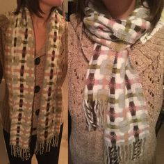 Plaid Lightweight Wool/Acrylic Scarf Love this scarf- warm but light. Colors include cream, pink, brown, and green. Accessories Scarves & Wraps