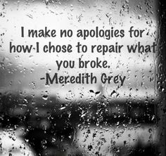 Grey's Anatomy, Meredith Grey - I make no apologies for how I chose to repair what you broke. The Words, Movie Quotes, Life Quotes, Dating Quotes, Favorite Quotes, Best Quotes, Grey Anatomy Quotes, Grays Anatomy, Youre My Person