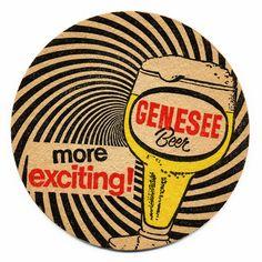 """Genesee Beer - """"more exciting! Cool Coasters, Beer Coasters, Sous Bock, Homemade Coasters, American Beer, Beer Mats, More Beer, Coaster Design, Vintage Advertisements"""