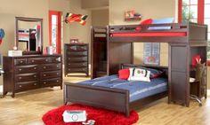 Ivy League Cherry Twin Full Step Loft Bedroom