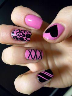 Pink and black nail art