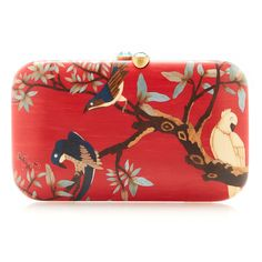 Red wood marquetry bird clutch