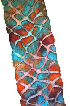 very good example of Nuno felt! Nuno Felted Scarf Wrap 50/50 Extra fine Australian merino wool / mulberry silk, silk chiffon fabric. - by Marina Shkolnik