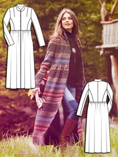 Read the article 'Woodstock: 11 Bohemian New Sewing Patterns' in the BurdaStyle… Girl Dress Patterns, Coat Patterns, Clothing Patterns, Skirt Patterns, Blouse Patterns, Knitted Coat Pattern, Jacket Pattern, Revamp Clothes, Diy Clothes
