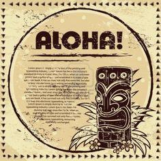 Vintage Aloha Tiki ilustración Foto de archivo
