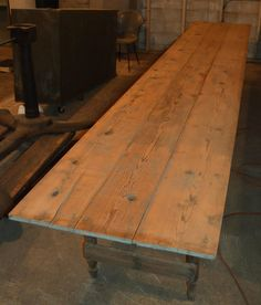 100 Year Old Harvest Table, 16 Ft Long, Of Old Growth Pine