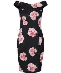 Čierne kvetované šaty lodičkovým výtrihom Dorothy Perkins Petite