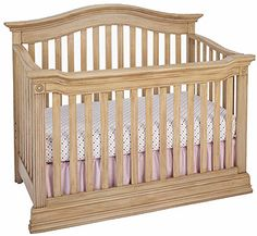 The beautiful design of the Baby Caché Montana 4-in-1 Lifetime Convertible Crib in the Driftwood style features fluted posts and Bull's-eye block moldings for a timeless look that will grow with ...