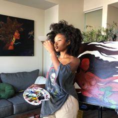 "thejaedaisy: ""She smells like cocoa & looks like art "" Beautiful Black Girl, Pretty Black Girls, Black Girl Art, Black Girl Magic, Black Art, Mode Old School, Pretty People, Beautiful People, Curly Hair Styles"
