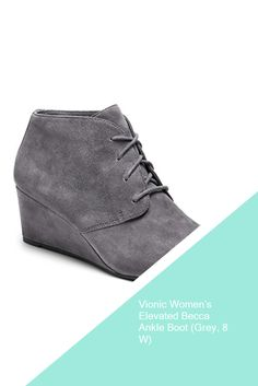Vionic Women's Elevated Becca Ankle Boot (Grey, 8 W)