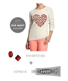 Steps: 1. Arrange the rhinestones on the front of the sweater in the shape of a heart. 2. Once you have the shape you are satisfied with, add a small dab of e6000, and glue them in place. Let dry overnight. #DIY #sweater #valentine