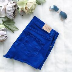 """A&F distressed high waisted shorts Royal blue, distressed, Abercrombie & Fitch high-waisted shorts. 5 pocket design, 1 button and zipper closure.️ size 0 / 25  Laying flat:  * Waist: 14 3/4""""  * Length: (front) 9"""" & (back) 11.5"""" Abercrombie & Fitch Shorts Jean Shorts"""