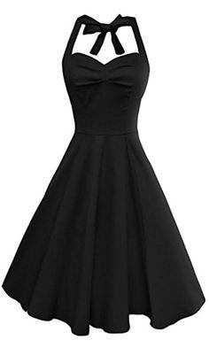 Anni Coco Women's Marilyn Monroe 1950s Vintage Halter Swing Tea Dresses Black XX-Large Best Price