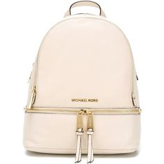 Michael Michael Kors Small Rhea Backpack ($332) ❤ liked on Polyvore featuring bags, backpacks, knapsack bags, real leather backpack, leather backpack bag, michael michael kors and day pack backpack