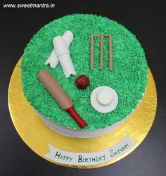 Cricket theme small customized designer fresh cream cake with bat, ball, stumps, cap, pads for cricket fan's birthday at Pune Cricket Theme Cake, Engagement Cakes, Wedding Engagement, Fondant Cakes, 3d Cakes, Cake Delivery, Blueberry Cake, Fresh Cream, Chocolate Cups