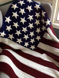 Americana afghan pillow wall hanging crochet pattern afghans patriotic afghan dt1010fo