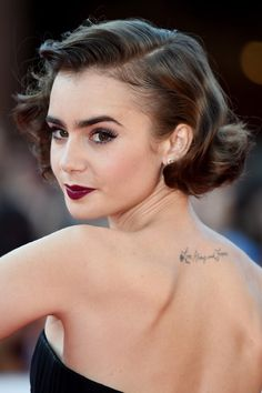 2015 Hairstyles, Retro Hairstyles, Wedding Hairstyles, Hairstyle Short, Haircuts, Lily Collins Bob, Lilly Collins Short Hair, Vintage Curls, Vintage Short Hair