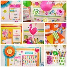 Flamingo classroom decor by schoolgirl style collage - SchoolgirlStyle Classroom Setup, Classroom Design, Future Classroom, Classroom Organization, Classroom Management, Calendar Numbers, Luau Theme, Hawaiian Theme, Schoolgirl Style