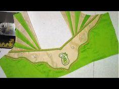Easy blouse designing at home Churidhar Neck Designs, Salwar Neck Designs, Saree Blouse Neck Designs, Choli Designs, Dress Neck Designs, Sari Blouse, Patch Work Blouse Designs, Simple Blouse Designs, Stylish Blouse Design