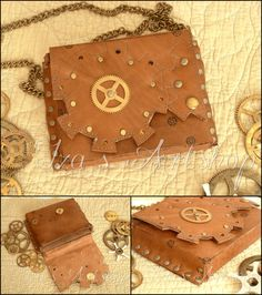 Small Steampunk Leather Belt Bag VI by ~izasartshop
