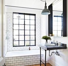 Image result for white subway tile dark grout craftsman style