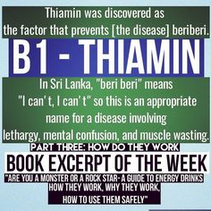 "Like many vitamins thiamin was discovered as ""That THING that keeps (something bad) from happening."" In this case the bad thing is the disease called beriberi. People with beriberi are lethargic confused wasting away. You might conclude ""people are lethargic without thiamin"" but THIAMIN DOES NOT GIVE YOU ENERGY!!! It's a facilitator NOT FUEL. Thiamin participates in metabolism of fat protein nucleic acids and especially carbohydrates. That's why carbohydrate metabolism is the first to go…"