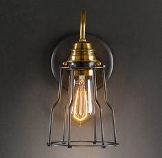 Industrial Filament Sconce Aged Steel (comes in nickel too -- better for our room, above the book shelves)