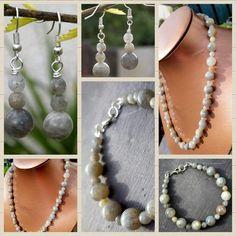 Labradorite Jewellery Set Labradorite Jewelry, Stunningly Beautiful, Craft Work, Beautiful Necklaces, Pearl Necklace, Jewelry Design, Jewellery, Pearls, Earrings
