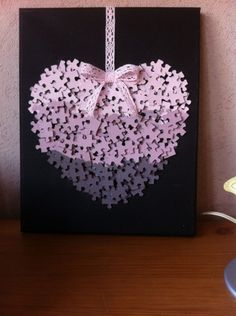Recycle & paint puzzle pieces pink, glue onto cardboard backg… Pink Puzzle heart. Recycle & paint puzzle pieces pink, glue onto cardboard background, hang from satin ribbon. Puzzle Piece Crafts, Puzzle Art, Puzzle Pieces, Valentines Bricolage, Valentine Day Crafts, Holiday Crafts, Diy Christmas, Crafts To Make, Crafts For Kids