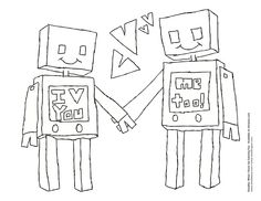 Robot love! Valentines Day Coloring Sheet. #parents #teachers #activities #free