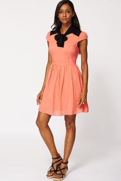 Coral Cap sleeve V neck dress