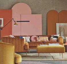 Warm Colour Palette, Warm Colors, Living Room Trends, Living Room Sets, Modern Shelving, Shelving Ideas, Orange Interior, Patterned Carpet, Velvet Sofa
