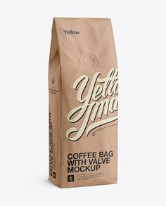250g Kraft Coffee Bag With Valve Mockup - Half-Turned View. Preview