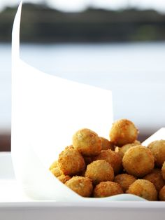 crispy pea and mint risotto balls from donna hay