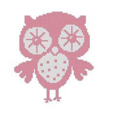 Pink Owl Cross Stitch PATTERN in PDF FORMAT -217