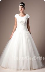 love how it starts as a mermaid dress and ends fluffy / Latter Day Bride.com Modest Formal Dresses, Affordable Wedding Dresses, Wedding Bridesmaid Dresses, Dream Wedding Dresses, Latter Day Bride, Fairytale Dress, Bridal And Formal, Dress Collection, Pretty Dresses