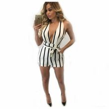 45decfba627 Adogirl V Neck Striped Short Rompers New Women Sexy Cross Back Summer  Sleeveless Belted Jumpsuit Hollow Out Overalls